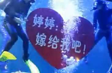 海洋馆水下浪漫求婚 感人 大家都哭了