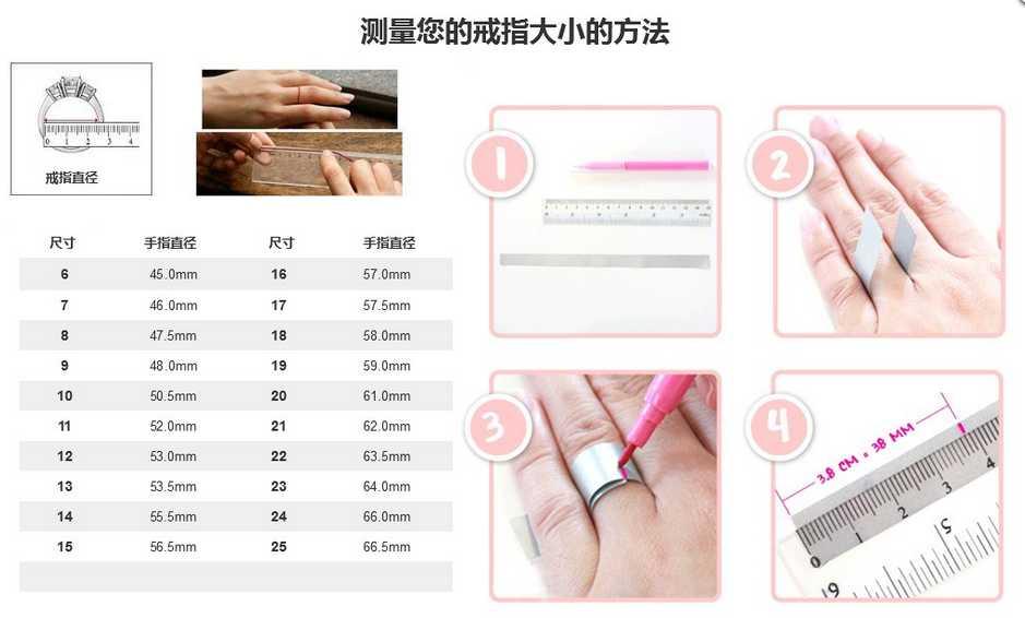 求婚钻戒的手寸怎么测量